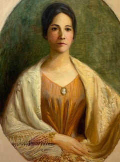 Circa 1900 American Victorian Impressionist Painting of a Woman with a Shawl