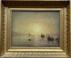CIRCLE OF JMW TURNER - SUNRISE OVER ESTUARY WITH FISHING BOATS - OIL ON CANVAS