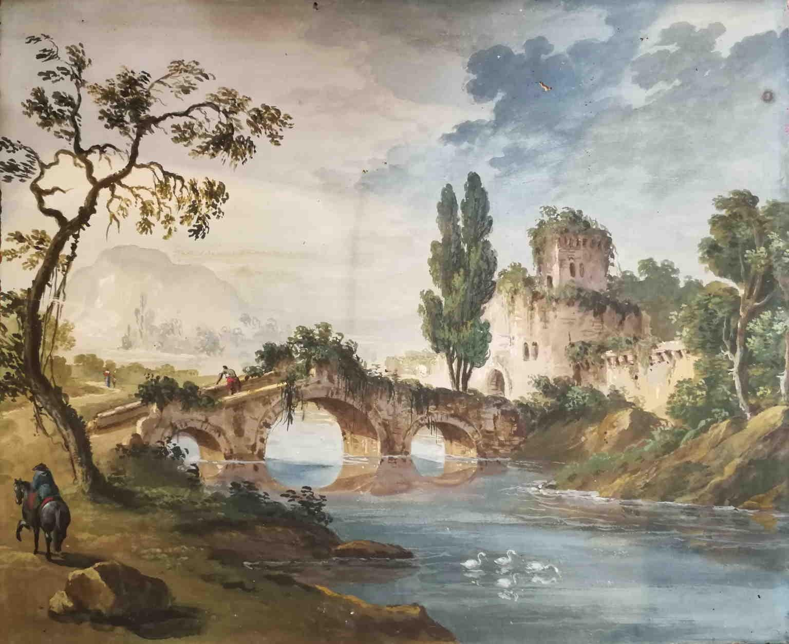 Circle of P G Palmieri Italian River Landscape 18 century watercolor paper