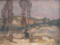 Circle of Paul Gauguin Pont Aven School Figure in a Landscape oil circa 1890