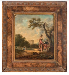 Classical Landscape With Soldiers Characters Animals and Architectural Elements