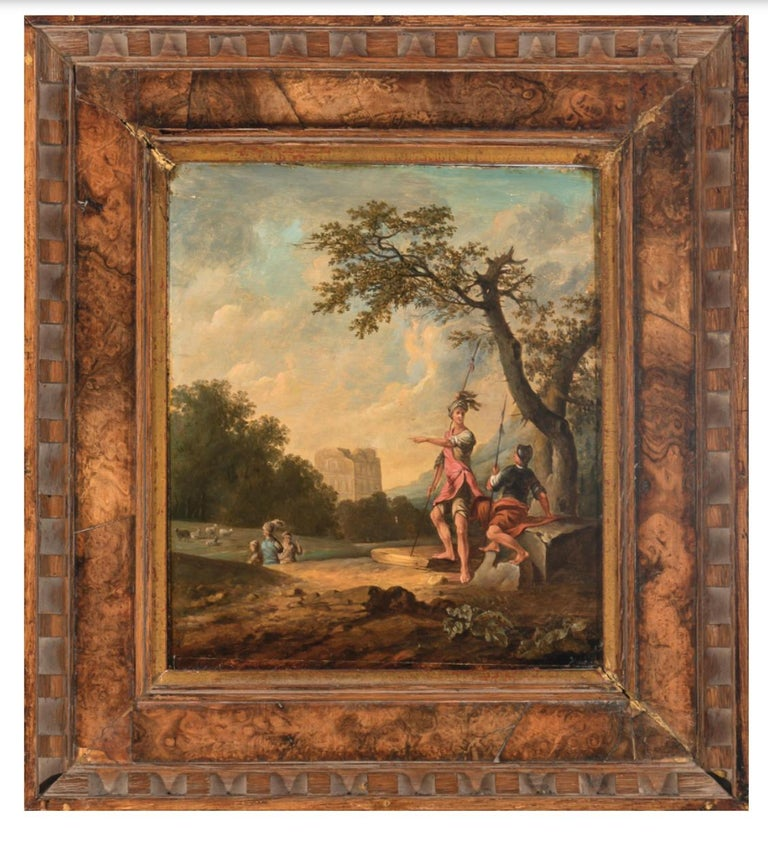 Unknown Figurative Painting - Landscape Painting With Soldiers Characters Animals and Architectural Elements