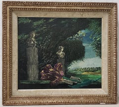 Classical Sculptures Overlooking a Lush Country Landscape Oil Painting c.1950s