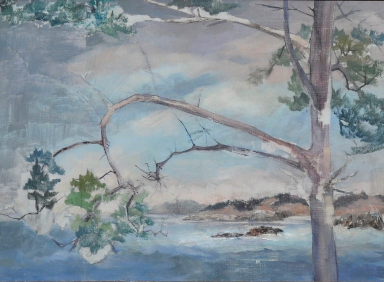 Coastal Tree - Mid Century Landscape  - Painting by Unknown
