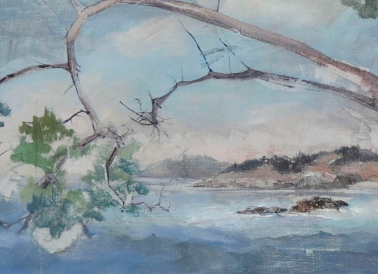 Coastal Tree - Mid Century Landscape  - Gray Landscape Painting by Unknown