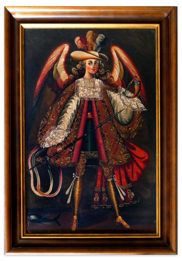 Collection of 5 Paintings of South-American Angels - Spanish School End of 1800 For Sale 1
