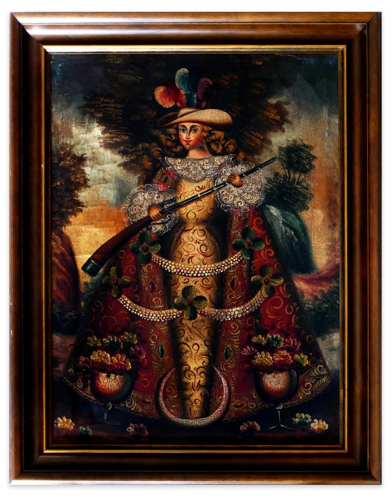 Unknown Figurative Painting - Collection of 5 Paintings of South-American Angels - Spanish School End of 1800