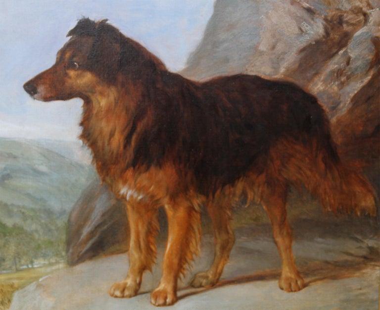 Collie Dog in a Landscape - 19thC dog portrait oil painting monogram signature For Sale 2