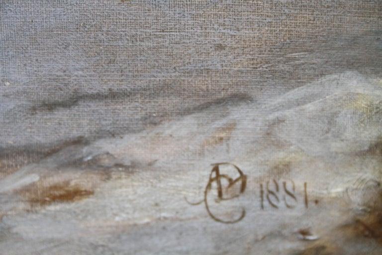 Collie Dog in a Landscape - 19thC dog portrait oil painting monogram signature For Sale 3