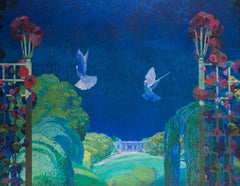 Large original French art nouveau oil painting of doves in summer time, blue