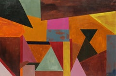 Colorful abstract American modern painting geometric shapes orange yellow pink
