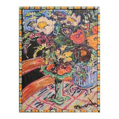 Colorful Abstract Floral Still Life Painting with Painted Frame