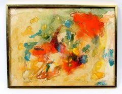 Colorful Abstract Painting Collage 1960's Framed Retro Mid Century Orange Red