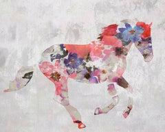 Colorful Floral Horse Fine Art Hand Embellished Giclee on Canvas Irena Orlov