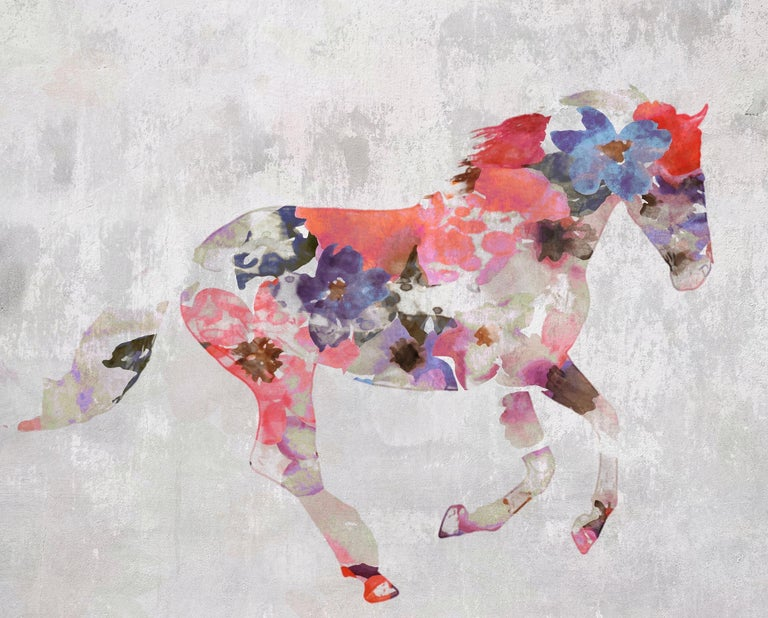 Colorful Floral Horse Painting Horse Fine Art Hand Embellished Giclee on Canvas  Collector's Edition Embellished Art Canvas Giclee With Brushstrokes and rich texture.  State-of-the-art HAND EMBELLISHED ∽ MUSEUM QUALITY ∽ DISPLAY READY Giclee