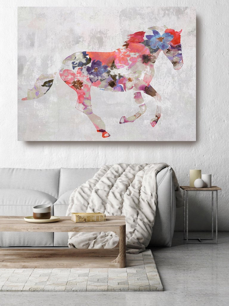Colorful Floral Horse Fine Art Hand Embellished Giclee on Canvas Irena Orlov For Sale 1