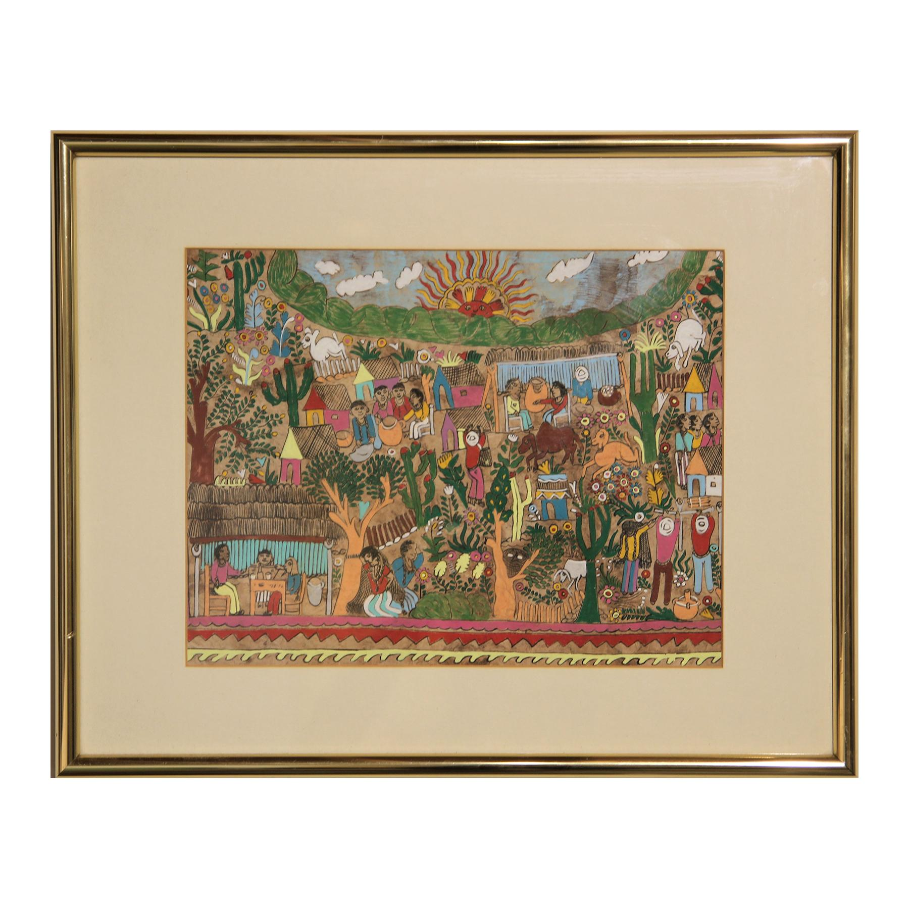 Colorful Green and Red Mexican Amate Folk Art Figurative Landscape Painting
