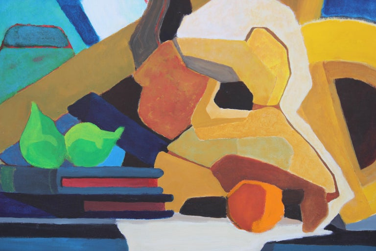 Colorful Mid Century Modern Blue, Yellow, Green Geometric Abstract Still Life - Painting by Unknown