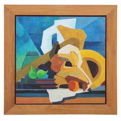 Colorful Mid Century Modern Blue, Yellow, Green Geometric Abstract Still Life