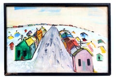Colorful Mid Century Modern Oil Painting Modernist Shanty Town Monogramed Framed