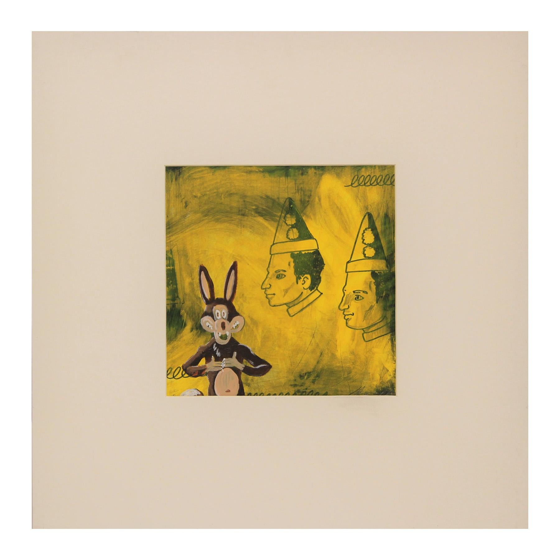 Colorful Modern Abstract Yellow Cartoon Wolf and Clowns Pop Art Painting