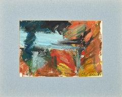 Composition - Original Oil on Cardboard - 1989