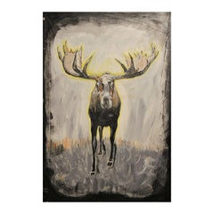 Contemporary Abstract Black and Yellow Figurative Moose Animal Painting