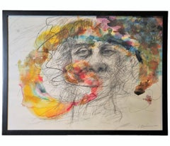 Contemporary Abstract Colorful Watercolor Portrait