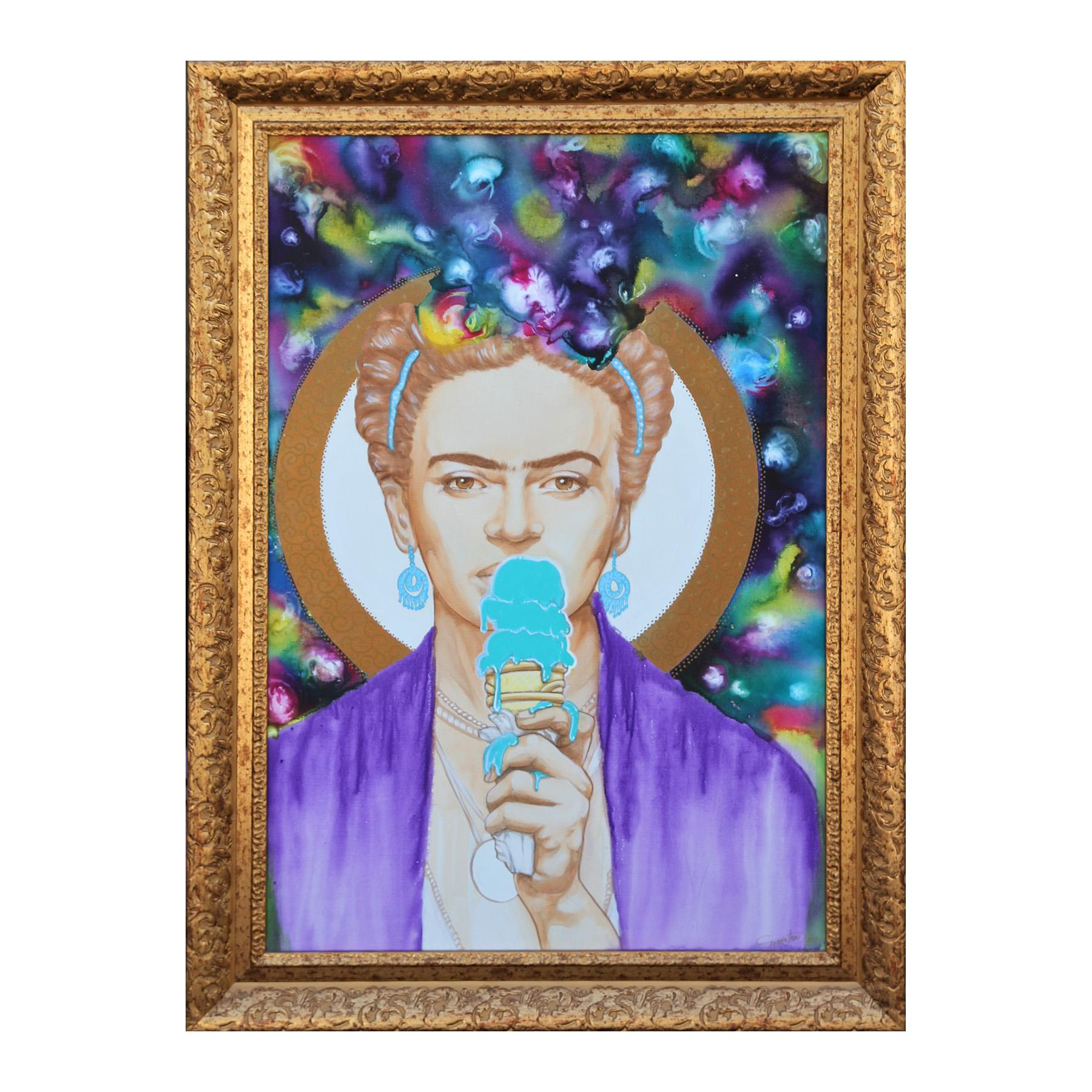 Contemporary Abstract Jewel Tone Frida Kahlo Ice Cream Portrait Signed Thornton