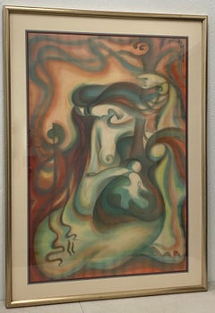 Contemporary Figural Abstract Nude Oil Painting C.1990s