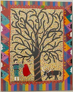 """Contemporary Folk Art """"Adam and Eve"""" Painting by Saenz"""