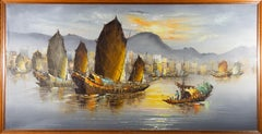 Contemporary Oil - Chinese Junk Boats