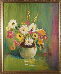Contemporary Oil - Yellow and Pink Flowers