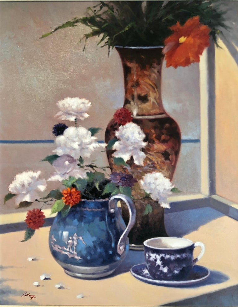 Contemporary Still Life With Flowers Vase Pitcher Cup and Saucer  - Painting by Unknown