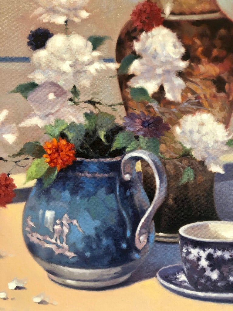 Contemporary Still Life With Flowers Vase Pitcher Cup and Saucer  - Brown Still-Life Painting by Unknown