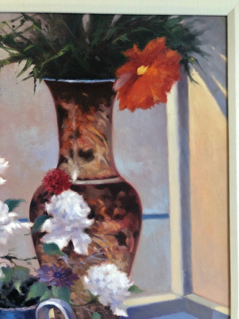 Contemporary Still Life with flower vase, pitcher cup, and soccer signed Fortuny.