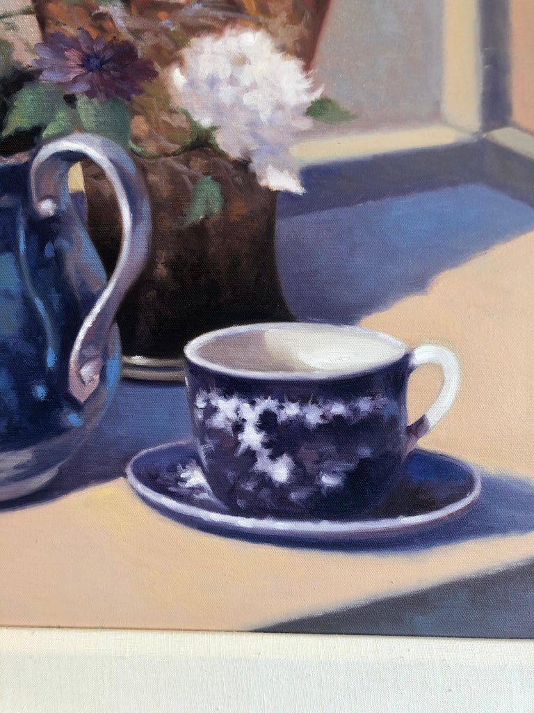 Contemporary Still Life With Flowers Vase Pitcher Cup and Saucer  For Sale 1