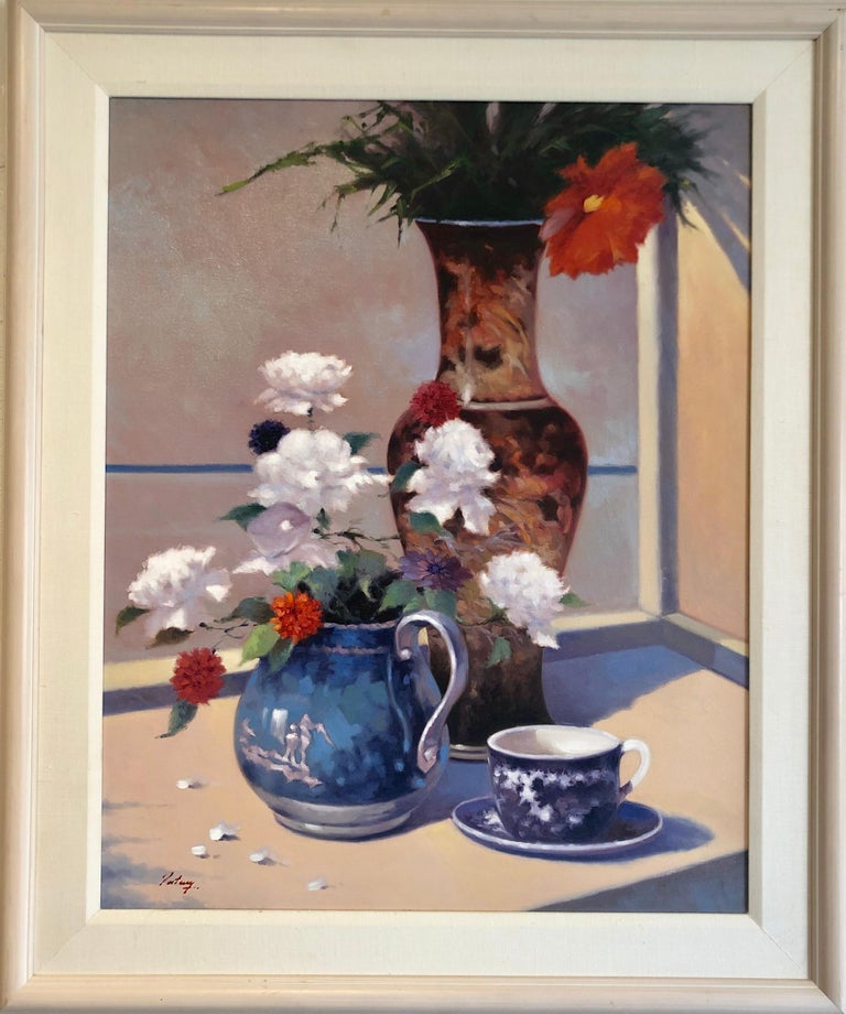 Unknown Still-Life Painting - Contemporary Still Life With Flowers Vase Pitcher Cup and Saucer