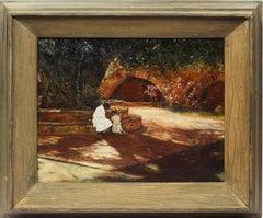 Coral Gables Old Florida Antique Impressionist Landscape Garden Oil Painting