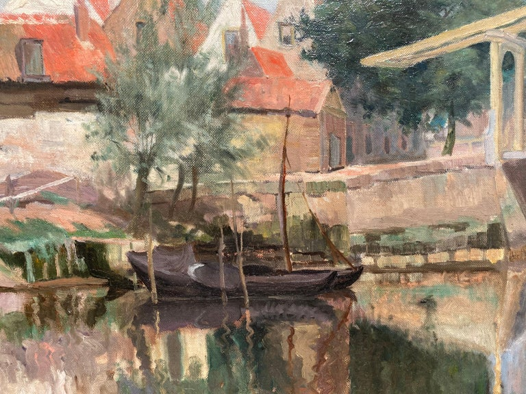 Cottage by a Bridge - Impressionist Painting by Unknown