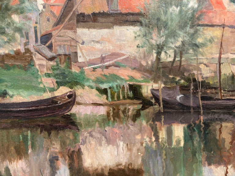 Cottage by a Bridge - Brown Landscape Painting by Unknown