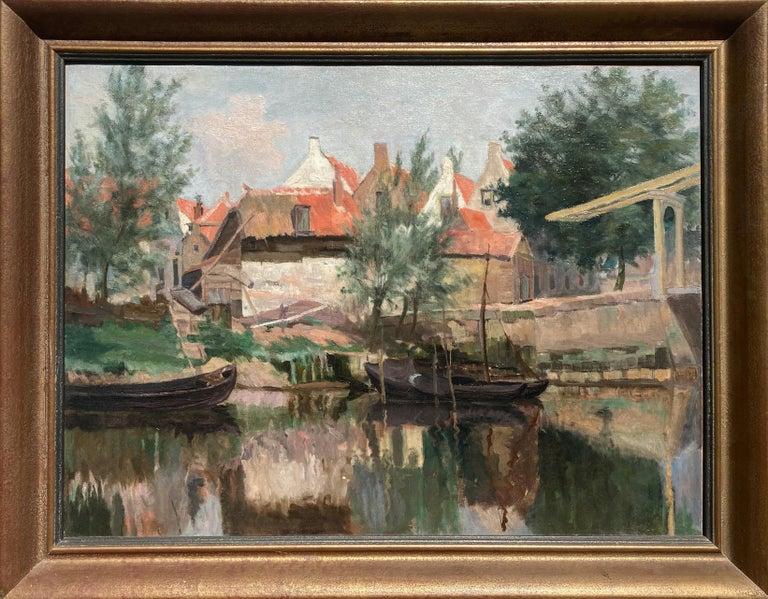 Unknown Landscape Painting - Cottage by a Bridge