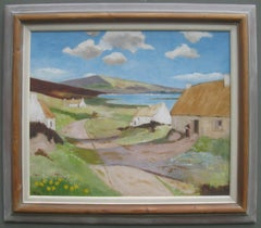 'Cottages near the Bay' Post Impressionist oil on canvas circa 1950's