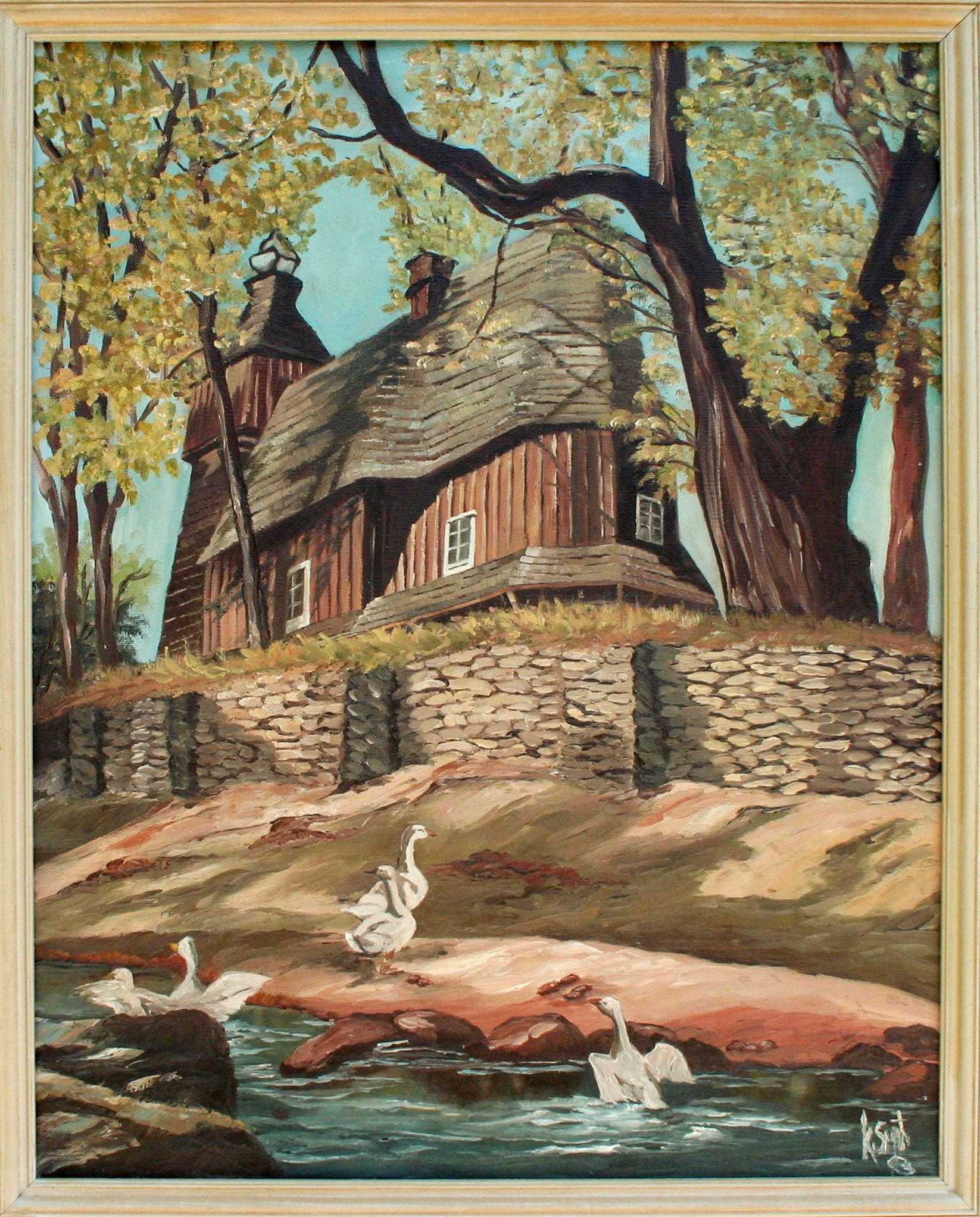 Country Manor with Geese Landscape