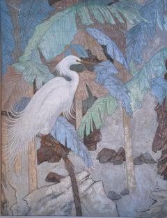 """Crane,"" Decorative Japanese School Painting of White Bird"