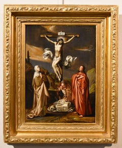 Crucifixion Paint Oil on table Old master 17th Century Flemish Rubens Christ Art