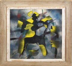 Cubist American Surreal 1934 Factory Worker Signed Abstract Oil Painting
