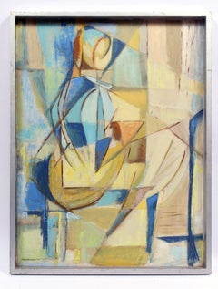 Cubist Geometric Abstract Figure Oil Painting American 1950 Mid Century Blue