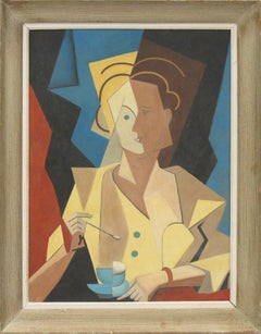 Cubist Gouache on Board Painting Woman with Cup of Coffee