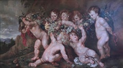 Cupids Playing Very Large Bacchanal Rococo Scene, oil painting